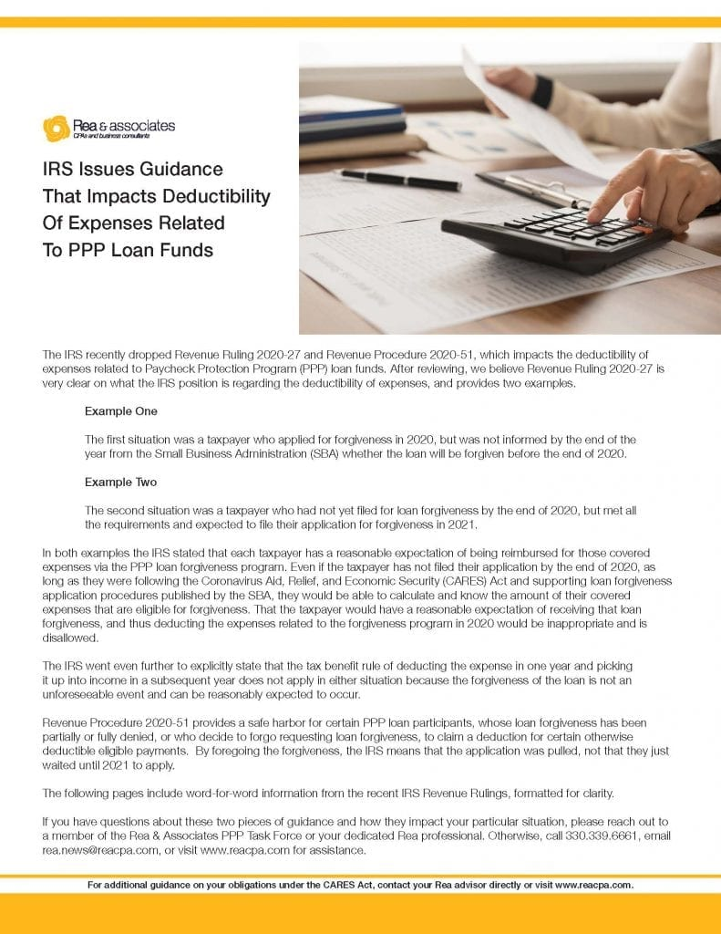 Whitepaper Download   IRS Issues Guidance That Impacts Deductibility Of Expenses Related To PPP Loan Funds   Rea & Associates   Ohio CPA Firm