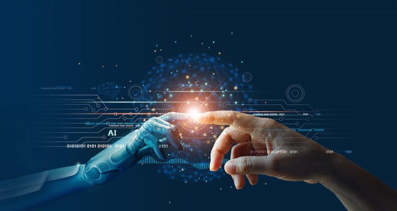 AI, Machine learning, Hands of robot and human touching on big data network connection background, Science and artificial intelligence technology, innovation and futuristic, robot.